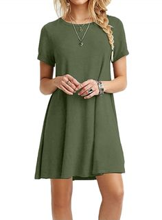 Casual Short Sleeve Swing T-shirt Loose Dress