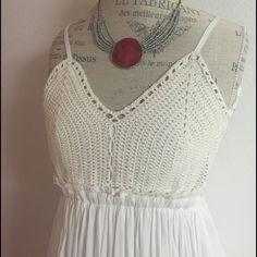DRESS Crochet bustier spaghetti strap maxi solid tank dress with elastic waist 100% rayon size L  lined...NWT ❌trades❌PayPal Staccato Dresses Maxi