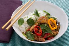 Stir-Fried Ginger-Basil Chicken with Tinkerbell Peppers & Coconut Rice