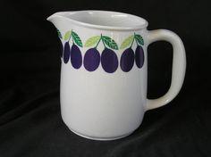 Arabia of Finland Pomona Plumb Pitcher, 6  Tall, Vintage, PERFECT! Plumbing, Finland, Tableware, Glass, Nostalgia, Vintage, Design, Kunst, Dinnerware