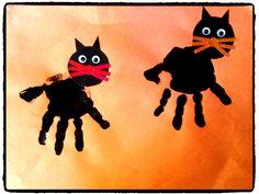 halloween, empreinte de mains, chat noir, activité bébé, activité enfant