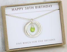 50th birthday gift idea, peridot jewelry August birthday, 50th birthday necklace - Lilia