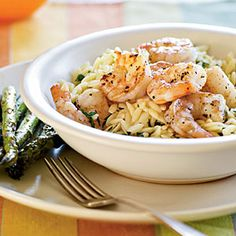 Lemon Pepper Shrimp Scampi -  Indulge in the flavor of the Mediterranean with plump shrimp tossed with lemon and pepper. Serve with sauteed asparagus for a fine accompaniment.
