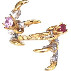 Tessa Metcalfe Jewellery Pigeon Grasp Claws with Ruby and Pink Rings