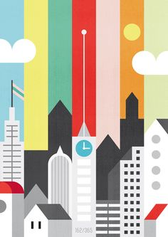 City and Color. Simple shapes and great color palette. My kind of illustration.