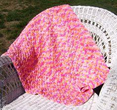 Crochet Baby Blanket made with Bernat Baby Blanket yarn.