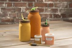 Americana Decor Chalky Paint Pumpkin Mason Jars @craftsavy, #craftwarehouse, #diy, #masonjar, #AmericanaDecor,#americanadecorchalkypaint