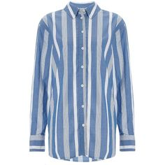 Equipment Blue Stripe Cotton Margaux Shirt (£215) ❤ liked on Polyvore featuring tops, blue, shirts & tops, blue striped top, blue stripe shirt, pocket shirt и cotton summer tops