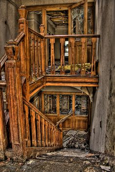 Wow... cool abandoned ..  main staircase of Old Hall, England
