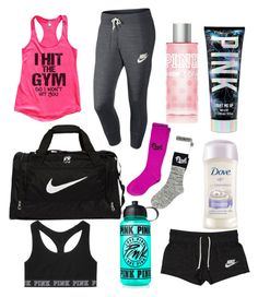 """""""Thats is Whats in My Gym Bag"""" by armani on Polyvore featuring NIKE, Victoria's Secret and Victoria's Secret PINK"""