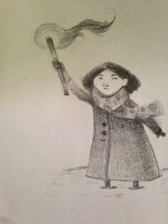 little girl in the snow (sketchbook)