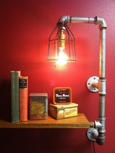Pipe lamp light with shelf using upcycled parts - by FrontPorchBlues on Etsy.: