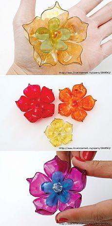 Цветы из пластиковых бутылок + несколько идей и МК по их использованию.