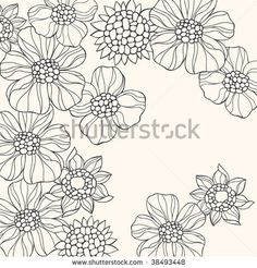 stock vector : Hand-Drawn Groovy Doodle Psychedelic Flowers Vector Illustration