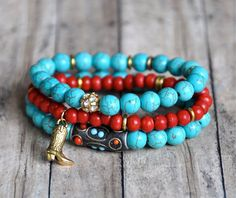 NEW Turquoise & Red Stacked Bracelets by BeadRustic on Etsy