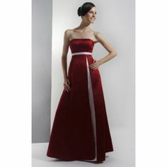 A-line Strapless Floor-length Satin Bridesmaid/ Wedding Party Dress