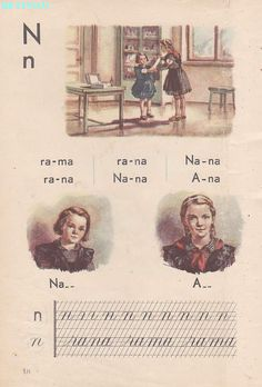 Abecedar 1959 – Un zâmbet de copil… Vintage School, Kids Education, Book Illustration, Vintage World Maps, Nostalgia, Projects To Try, Activities, Learning, Words