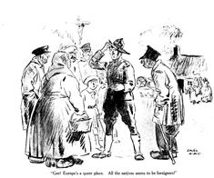 A cartoon on a popular theme: the cluelessness of American soldiers in France during World War I. American Soldiers, A Cartoon, World War I, Battle, January, France, Magazine, Popular, Life
