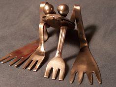 Repurposed Stainless Steel Silverware Frog. $25.00, via Etsy.