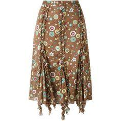 Romeo Gigli Vintage ruffled trim printed skirt