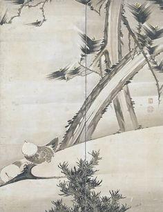 Detail. 松梅群鶏図屏風右隻 Pine, Ume (Plum) and Chickens. Japanese folding screen pair 伊藤若冲 ITO Jakuchu. 東京国立博物館 Tokyo National Museum