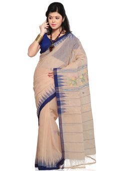 Cream Cotton Manipuri Handloom Saree with Blouse Online Shopping: SWV2