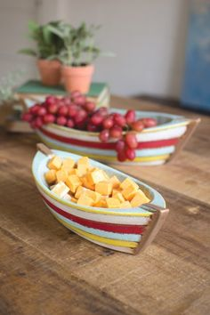 Caribbean Painted Ceramic Boat Serving Bowls Set Of Two