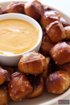 Homemade Soft Pretzel Bites with Cheese Sauce (video) from handletheheat.com