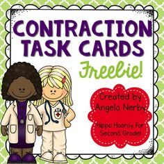** UPDATED FEBRUARY 2016!! **This product includes 20 task cards for students to practice forming and taking apart contractions. These cards can be used in several different ways:Scoot: A fast-paced, whole class activity where students travel from desk to desk to answer the questions on the card.Around the Room: Like a scavenger hunt, post the cards around the room for students to find and answer.Literacy Center: Put the cards at a center for students to solve.I have included two different…