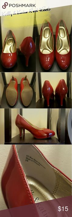"""Kelly & Katie Red Heels Very stylish and classy glossy 3"""" heels. Size is 8W.  Only worn once. Looks like brand new!  Make offers! I do trades and bundles! Feel free to ask any question! Kelly & Katie Shoes Heels"""