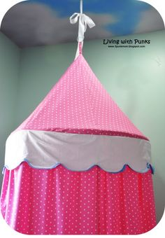 hula hoop tent tutorial, except I am going to tie mine to a tree outside in the summer!