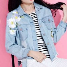 Sunflower embroidered denim jacket for women blue cut off jean blouses coat
