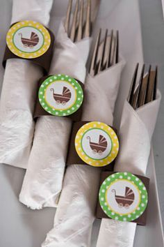 Carriage Napkin Rings Baby Shower - Gender Neutral
