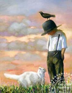 Nancy Noel Amish Prints Upon a Cat and Crow - Bing Images Illustrations, Illustration Art, Video Chat, Photo Chat, Process Art, State Art, Animal Paintings, Art For Kids, Art Children