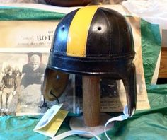 1940s Pittsburgh Antique Style Leather Football Helmet (Black & Gold)