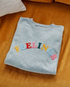 Feelings Sweatshirt by ban.do - sweatshirt - ban. Embroidery On Clothes, Cute Embroidery, Embroidered Clothes, Embroidery Patterns, T Shirt Embroidery, Loom Patterns, Embroidered Sweatshirts, Diy Fashion, Workwear Fashion