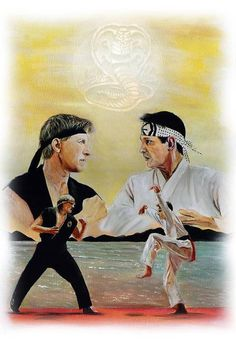 This limited edition print of 300 features Daniel Larusso and Johnny Lawrence from Cobra Kai. Print is size 12 x 8 and comes with mount. The print is also signed by me, the artist and comes with a certificate of authenticity. The Karate Kid 1984, Karate Kid Cobra Kai, Cobra Kai Wallpaper, Rocky Balboa Poster, Cobra Kai Dojo, William Zabka, Rocky Film, Kai Arts, Pretty Boy Swag