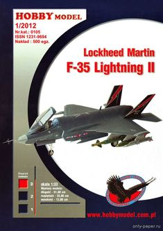 Lockheed Martin Lightning II (Hobby Model Paper model for RC conversion. Paper Aircraft, Diy And Crafts, Paper Crafts, Model Airplanes, Paper Models, Rubber Bands, Paper Toys, Lightning, Fighter Jets