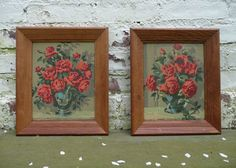 Pair of Red Roses vintage paint by numbers by BluedogVintage, $35.00
