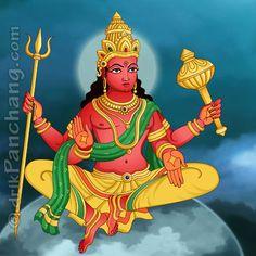 मंगल (Mangala / Angaraka / Kuja / Chevaai) THE HINDU GOD  उन्हें लाल रंग या लौ के रंग में रंगा जाता है,  चतुर्भुज, एक त्रिशूल, मुगदर, कमल और एक भाला लिए हुए  चित्रित किया जाता है। उनका वाहन एक भेड़ा है। वे 'मंगल-वार' के स्वामी हैं।