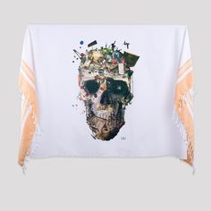 """İstanbul Skull 2 Printed Turkish Bath/Beach Towel  İstanbul Collection    95cm x185 cm (37""""x72"""")  Made of 100% Turkish cotton    It is an absorbent beach and bath towel, light and small when folded to easily fit into your bag.  It can be worn as a scarf or as a sarong. It can also be used as a table cloth or bedspread at your home.    The traditional bath towel is printed with bold and vivid designs.  İkiiki Design - Illustrated by Ali Güleç 