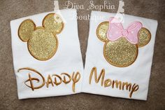 Daddy and Mommy Mickey and Minnie Shirts Set by DivaSophiaBoutique Minie Mouse Party, Minnie Mouse First Birthday, Minnie Mouse Baby Shower, Baby Girl 1st Birthday, Mickey Birthday, Mickey Y Minnie, Minnie Mouse Pink, 1st Birthday Themes, First Birthday Parties