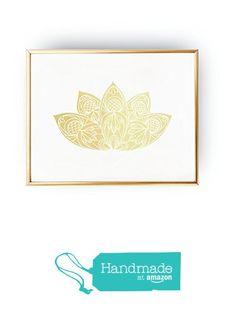 Lotus Print, Gold Lotus Flower, Real Gold Foil, Geometric Poster, Minimal Wall…