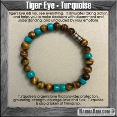 Like a tiger, one who wears the tiger eye has the patience to wait for the most opportune moment and has great focus and determination.......Mala Yoga bracelet - meditation  Karma Arm   mens womens charm chakra beaded stacks.  Turquoise Tiger eye.