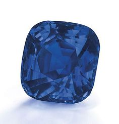 Displaying the velvety blue hue of a peacock's neck feathers, a 35.09-carat Kashmir sapphire.