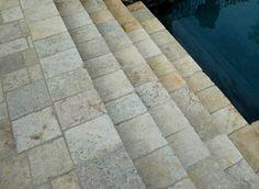 Natural stone steps. #limestone #pool #summer #remodel #customdeisgn