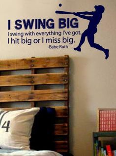 "16"" x 29"" Swing Big Babe Ruth Quote Baseball Vinyl Wall Art Decal by designstudiosigns for $37.00"