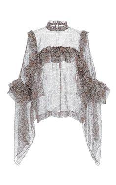 Floral Printed Ruffle Chiffon Blouse by VERONIQUE BRANQUINHO for Preorder on Moda Operandi