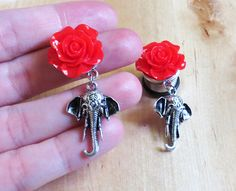 2g 0g 00g 7/16 1/2 9/16 / Dangly Rose Elephant / by LotusCovePlugs, $24.00