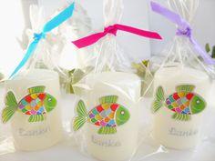 Gastgeschenke - 3 Gastgeschenk Kerzen verpackt ♡ - ein Designerstück von Geschenkefarm bei DaWanda